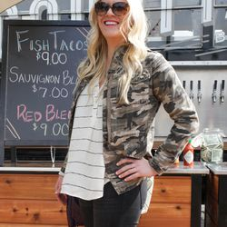 Candice is wearing a jacket from Nordstrom, Necessary Clothing top, and DL 1961 jeans