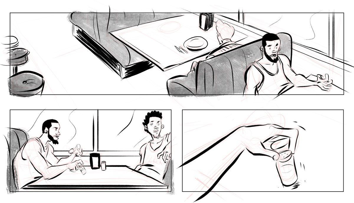 Cartoon of JaVale McGee and Nick Young sitting at a table arguing about salt and pepper shakers