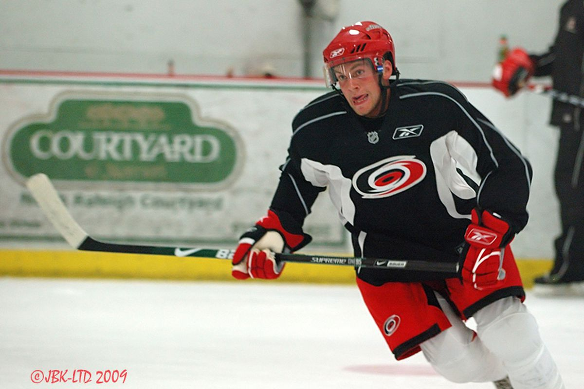 """Defenseman Beau Schmitz was a member of the Hurricanes' entry in the Traverse City Prospect Tournament each of the last two years. (Photo by <a href=""""http://www.flickr.com/photos/jbk-ltd/collections/72157619609115405/"""">Jamie Kellner</a>)"""