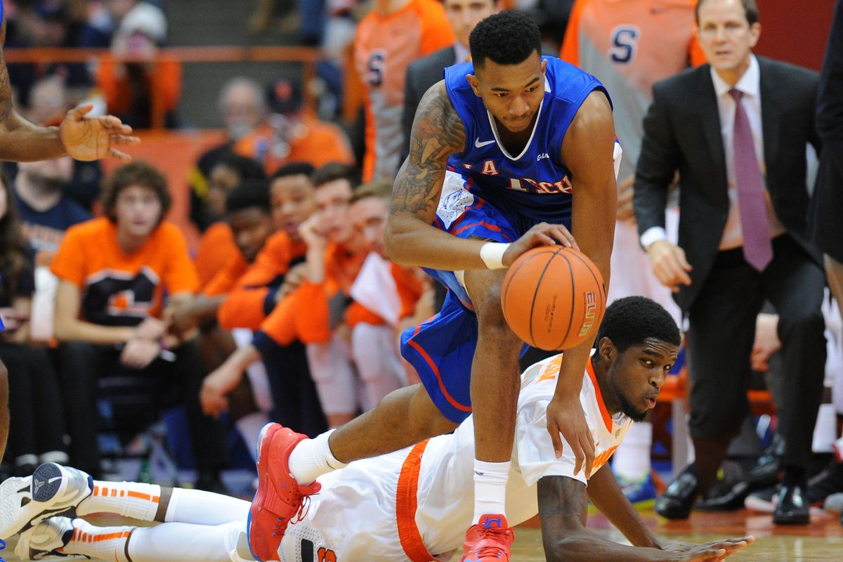 Xavian Stapleton in action against Syracuse, a school he actually could transfer to.