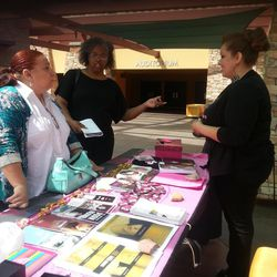 Jan (Meza) Villarrubia, (right) a former porn star-turned-Christian-anti-porn-activist with The Pink Cross Foundation, speaks with women outside of a Las Vegas Church in April to raise awareness about sex trafficking and exploitation within the adult entertainment industry.