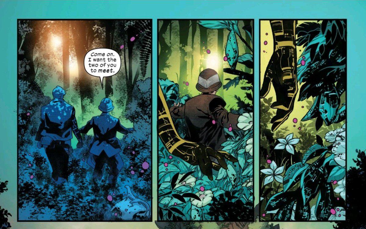 Professor Xavier and Doug Ramsey walk through Krakoa's jungle. Doug's tenchorganic hand brushes against nearby plants, in Powers of X #4, Marvel Comics (2019).