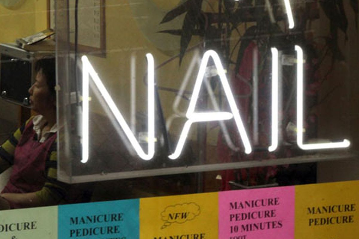 """East Village nail salon via <a href=""""http://www.flickr.com/photos/forklift/4006419869/in/pool-curbed"""">Forklift</a>/Curbed Flickr Pool"""