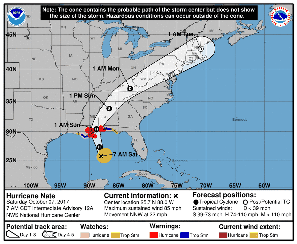hurricane nate is now sustaining 85 mph winds making it a category 1 storm it s forecast to make landfall with 90 mph winds near the louisiana mississippi