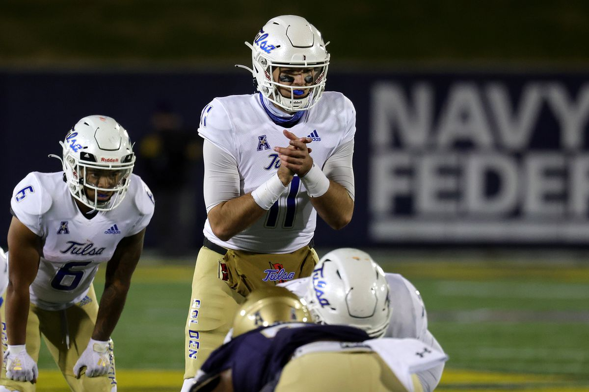 Quarterback Zach Smith #11 of the Tulsa Golden Hurricane signals from the line of scrimmage against the Navy Midshipmen at Navy-Marine Corps Memorial Stadium on December 05, 2020 in Annapolis, Maryland.