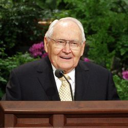 Elder L. Tom Perry speaks during the 182nd Annual General Conference for The Church of Jesus Christ of Latter-day Saints in Salt Lake City  Sunday, April 1, 2012.