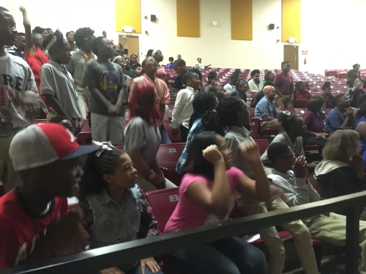 """Students at Memphis Scholars Raleigh-Egypt respond to Stevens' message."""""""