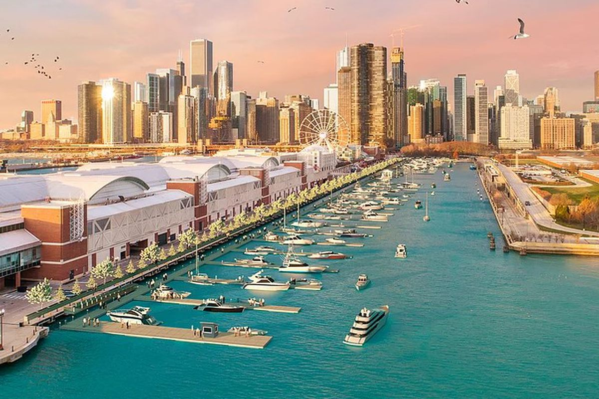 A rendering shows the Navy Pier Marina, with the Jardine Water Purification Plant on the right.