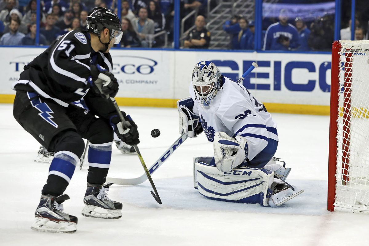 Antoine Bibeau #30 of the Toronto Maple Leafs makes a save on Valtteri  Filppula #51 of the Tampa Bay Lightning during the second period at  Amalie Arena on December 29, 2016 in Tampa, Florida.