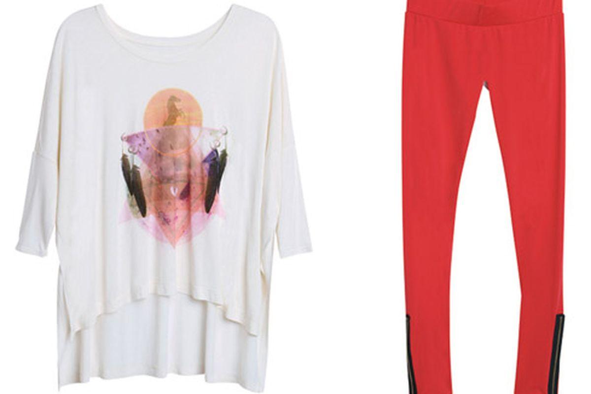 "Cape tee, $30; leggings, $30. Photos via <a href=""http://www.teenvogue.com/style/2011/12/lna-for-pacsun#slide=1"">Teen Vogue</a>"