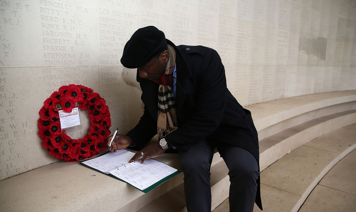 Officials from Northampton Town Football Club visit the site of the Battle of the Somme