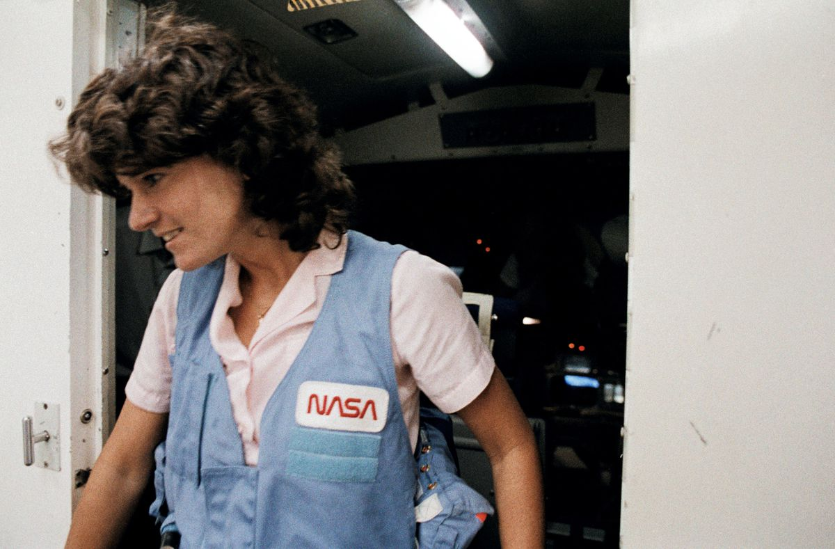 Sally Ride leaving a training session in Houston.
