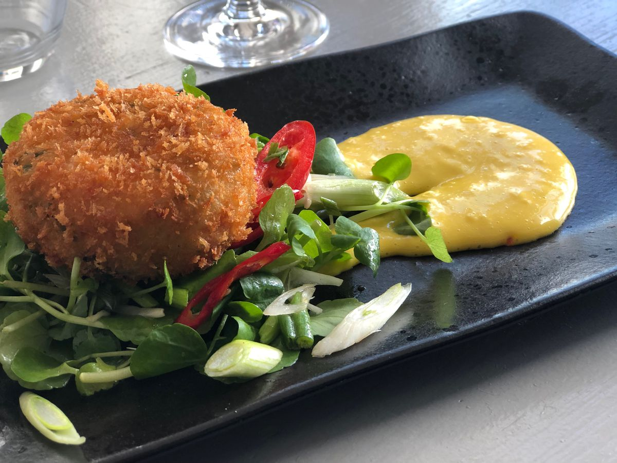 Best restaurants in Hastings, East Sussex: crab cakes at Graze on Grand in Saint Leonards-On-Sea