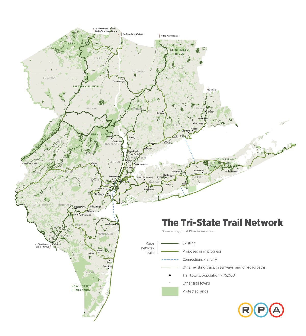 Map Of New York Tri State Area.Regional Plan Association Proposes 1 650 Mile Tri State Trail System