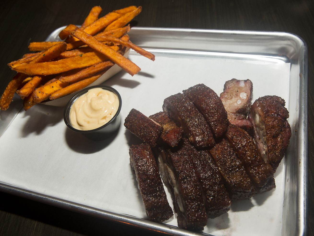Rib and sweet potato fries.