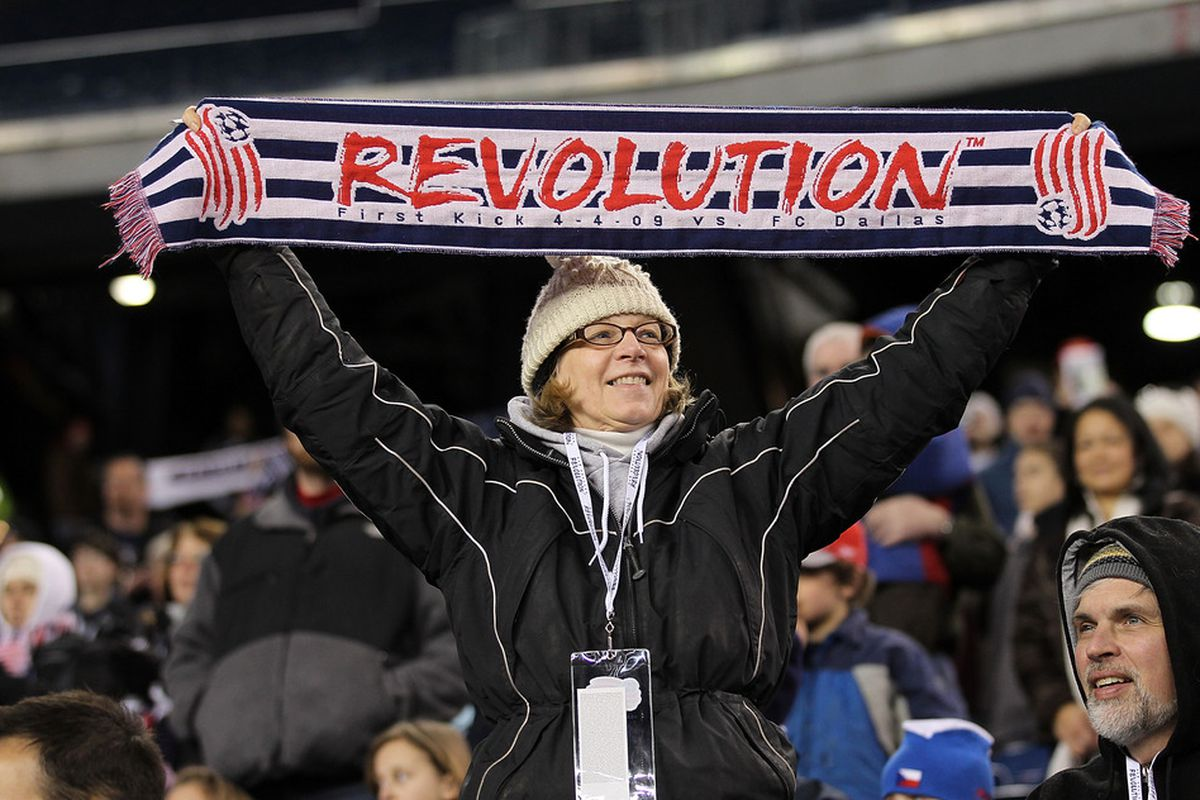 FOXBORO, MA - APRIL 2:  A New England Revolution fan at the beginning of a game with the Portland Timbers versus the New England Revolution at Gillette Stadium on April 2, 2011 in Foxboro, Massachusetts. (Photo by Jim Rogash/Getty Images)