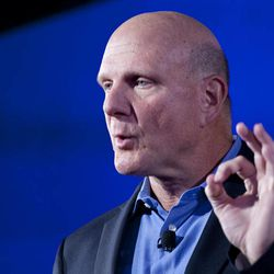 Steve Ballmer, CEO of Microsoft, discusses Nokia's newest smartphone, the Lumia 920, equipped with Microsoft's Windows Phone 8, Wednesday, Sept. 5, 2012 in New York. Nokia revealed its first smartphones to run the next version of Windows Wednesday, a big step for a company that has bet its future on an alliance with Microsoft.