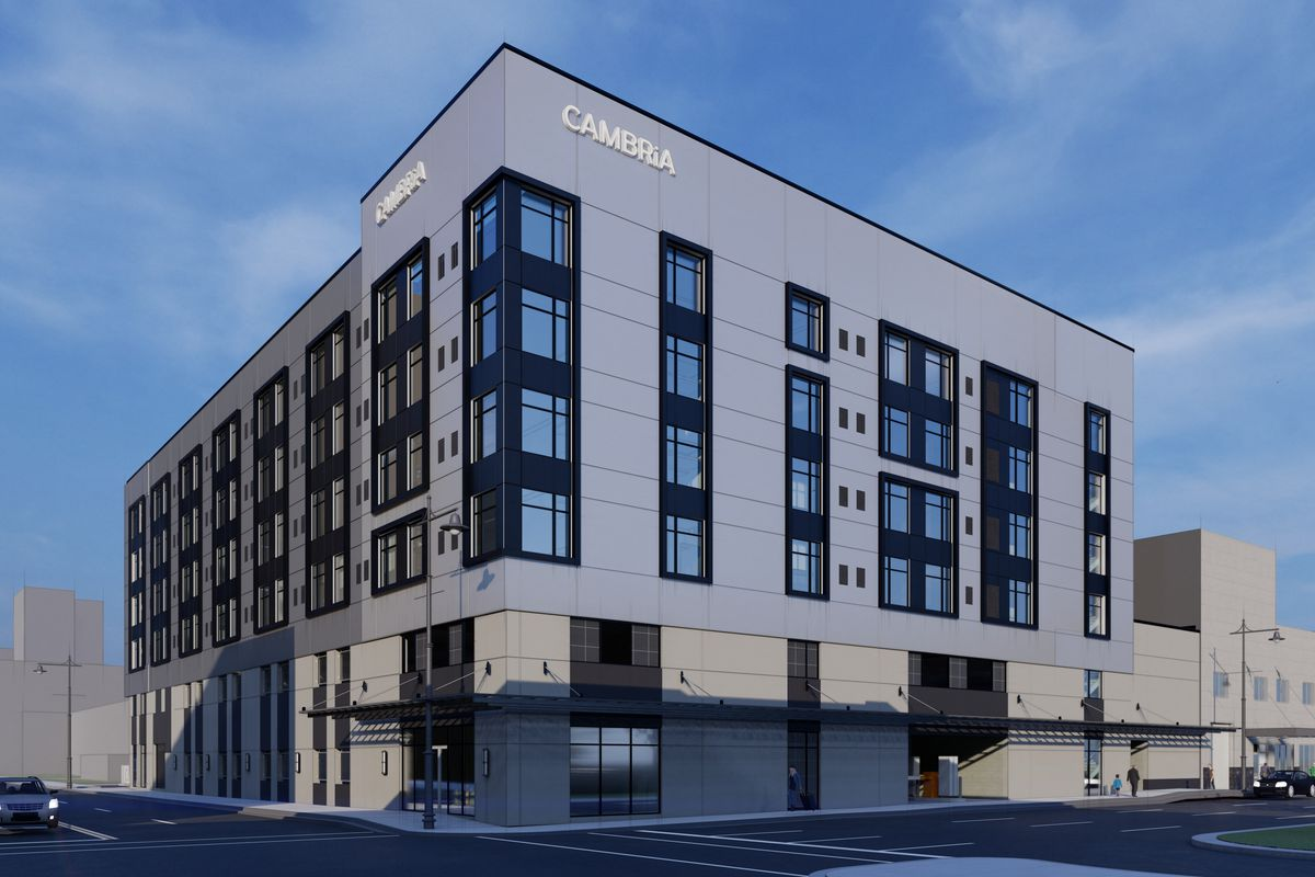 Construction begins on 50m cambria hotel in downtown for Color design hotel