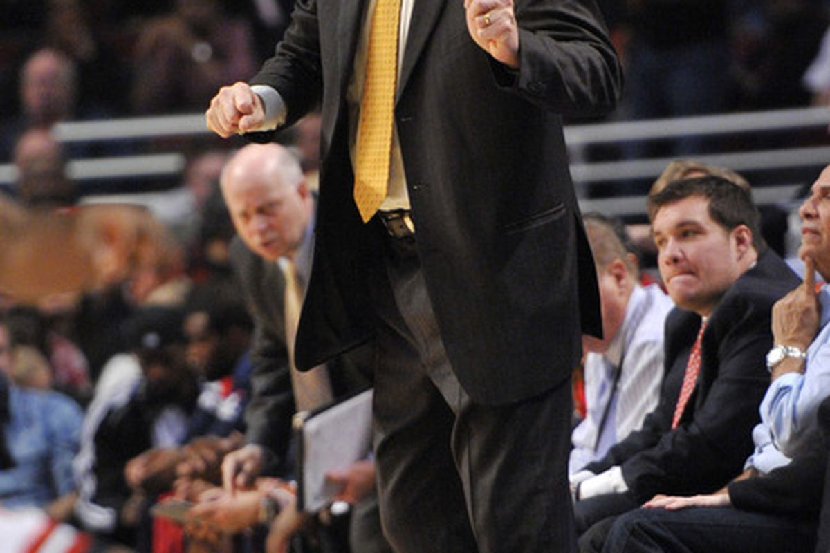 April 16, 2012; Chicago, IL, USA; Washington Wizards head coach Randy Wittman during the second quarter against the Chicago Bulls at the United Center.  Mandatory Credit: Rob Grabowski-US PRESSWIRE
