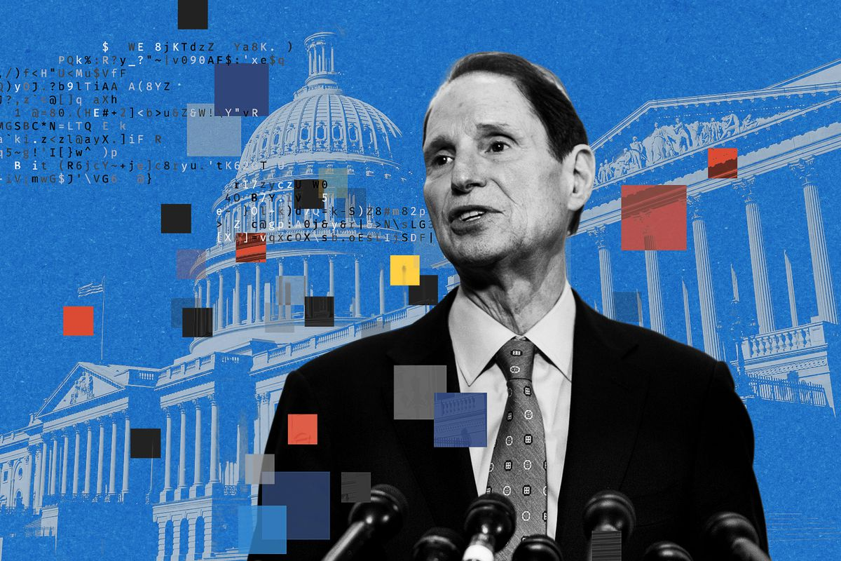 An illustration of Ron Wyden, pixel squares, and the Capitol