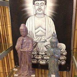 Purple buddha, $29.75 (was $59.50), blue buddha $22.75 (was $45.50), buddha print, $77.50 (was $155)