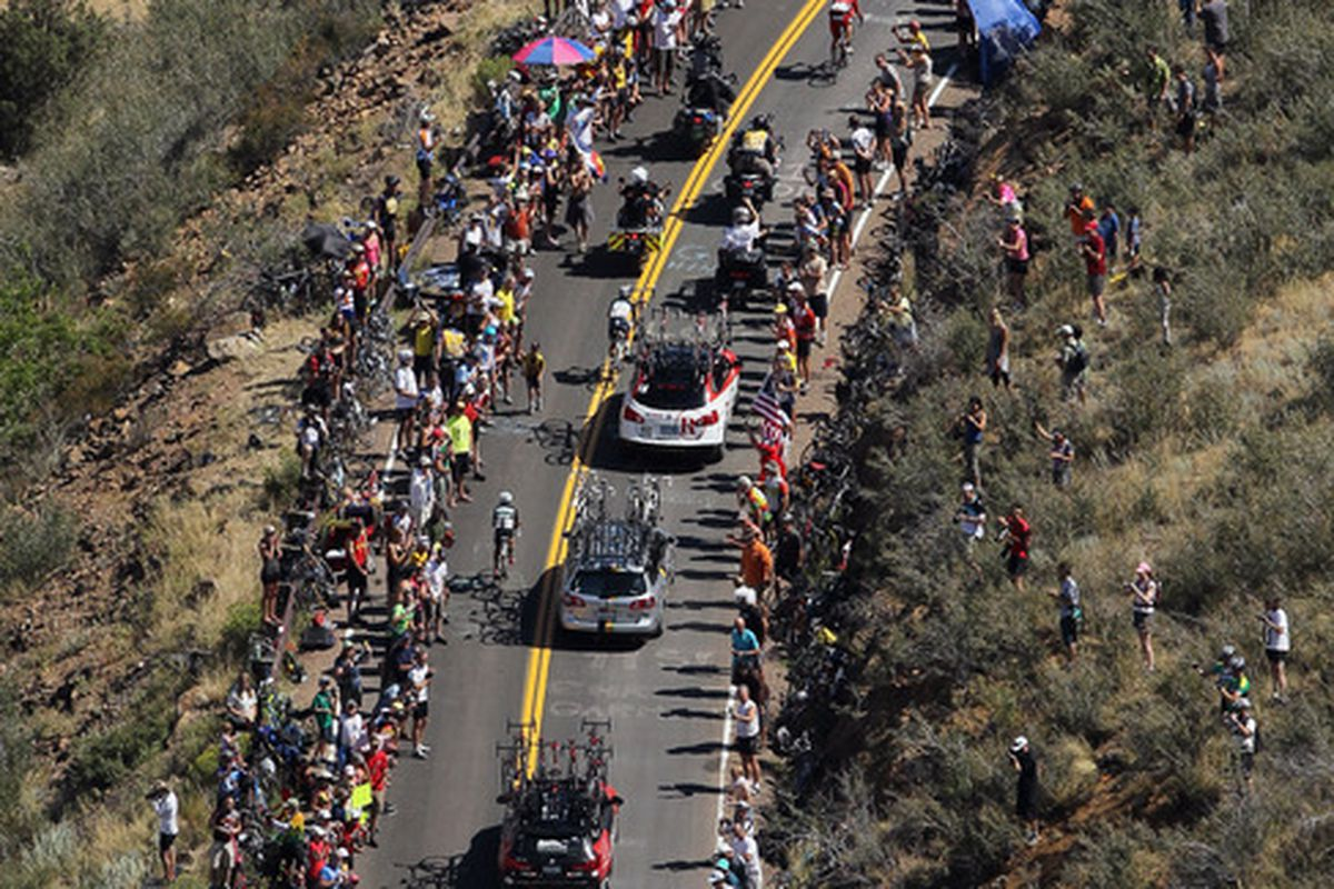 DENVER, CO - AUGUST 28:  Riders make their way up Lookout Mountain during stage six of the 2011 USA Pro Cycling Challenge from Golden to Denver on August 28, 2011 in Denver, Colorado.  (Photo by Jeff Gross/Getty Images)