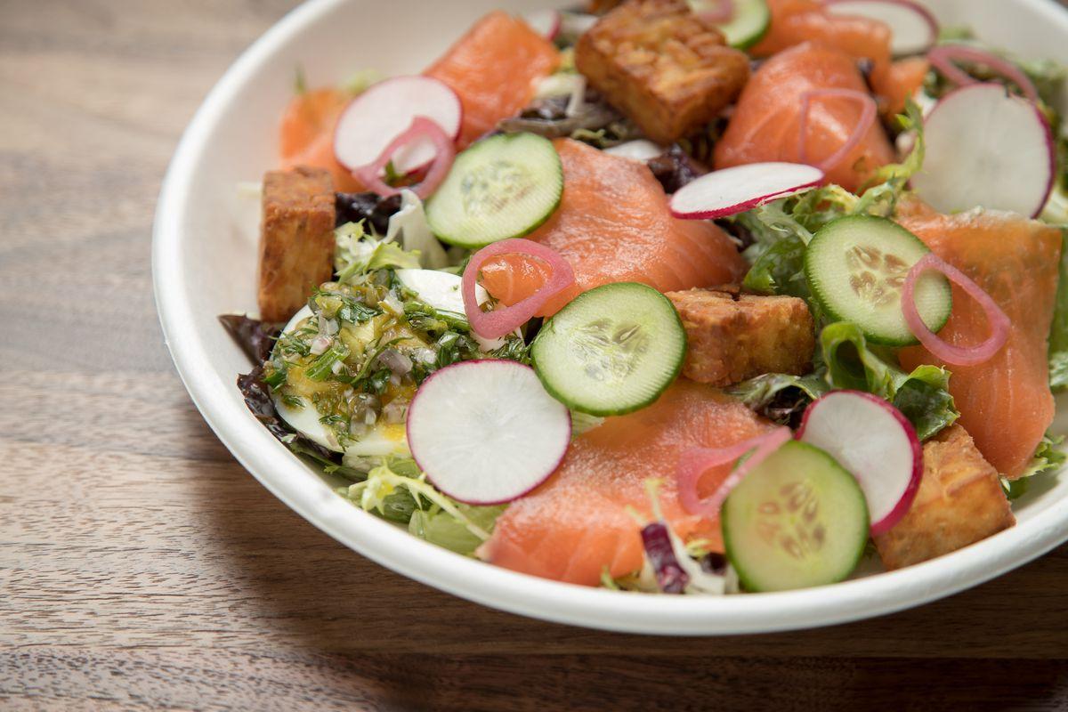 salmon frisee salad