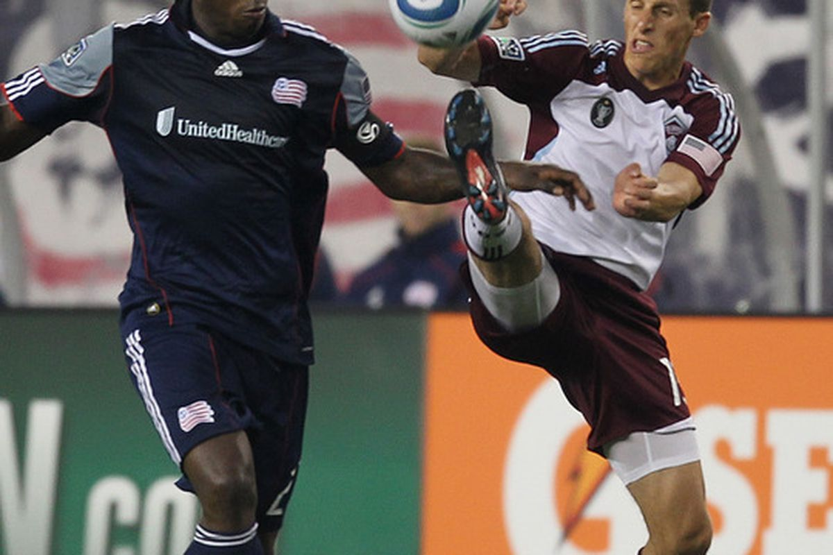 FOXBORO, MA - MAY 7:  Wells Thompson #15 of Colorado Rapids battles Shalrie Joseph #21 of New England Revolution at Gillette Stadium on May 7, 2011 in Foxboro, Massachusetts. (Photo by Jim Rogash/Getty Images)