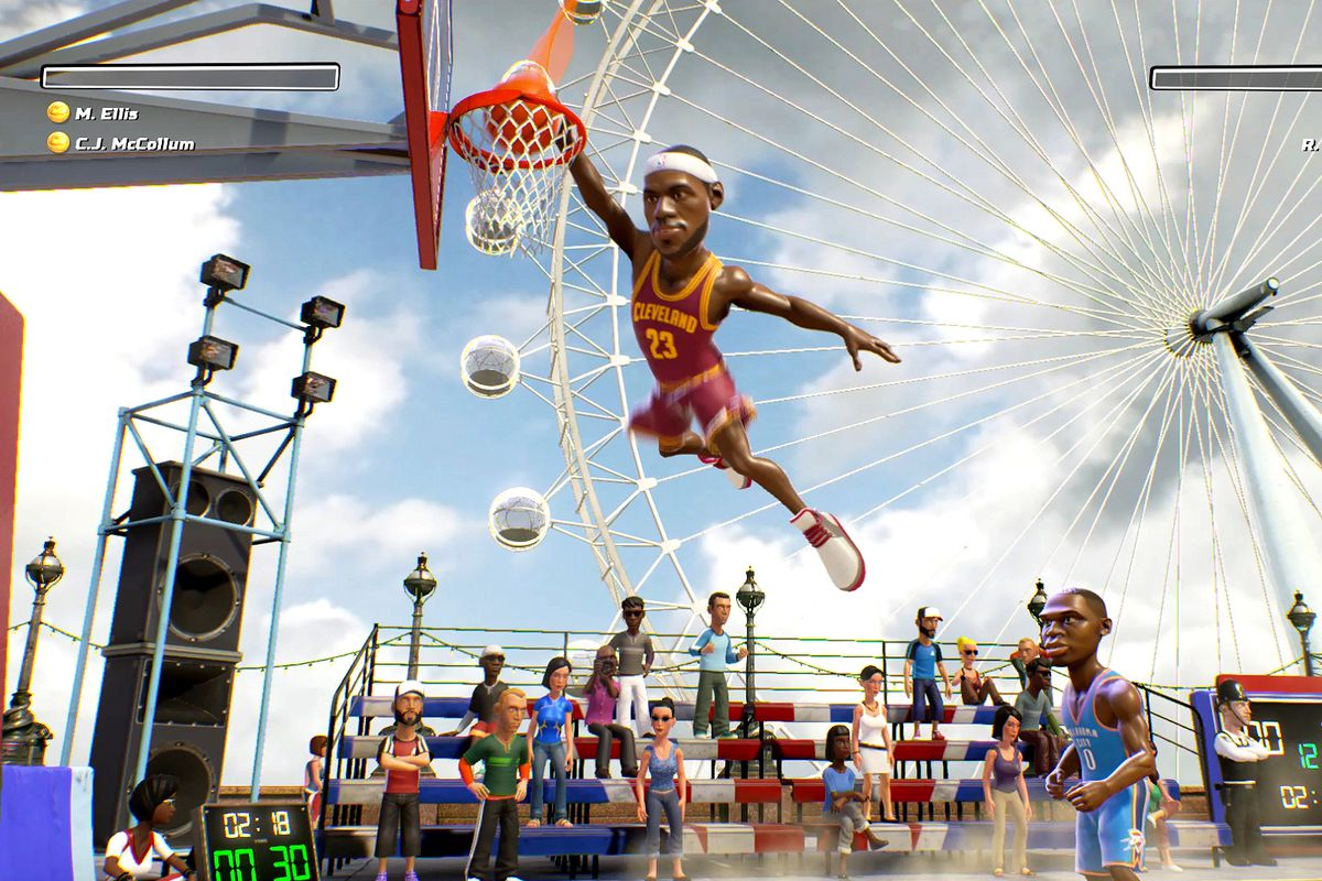 A stylized Lebron James soars over a carnival scene in NBA Playgrounds.