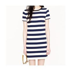 """<b>J.Crew</b> <a href=""""http://www.jcrew.com/AST/Navigation/Sale/AllProducts/PRDOVR~61028/99103021075/ENE~1+2+3+22+4294967294+20~~P_saleprice%7C0~20+17+4294966902~90~~~~~~~/61028.jsp"""">Rugby Stripe Dress</a> in Navy, $69.99 (on sale from $88)"""