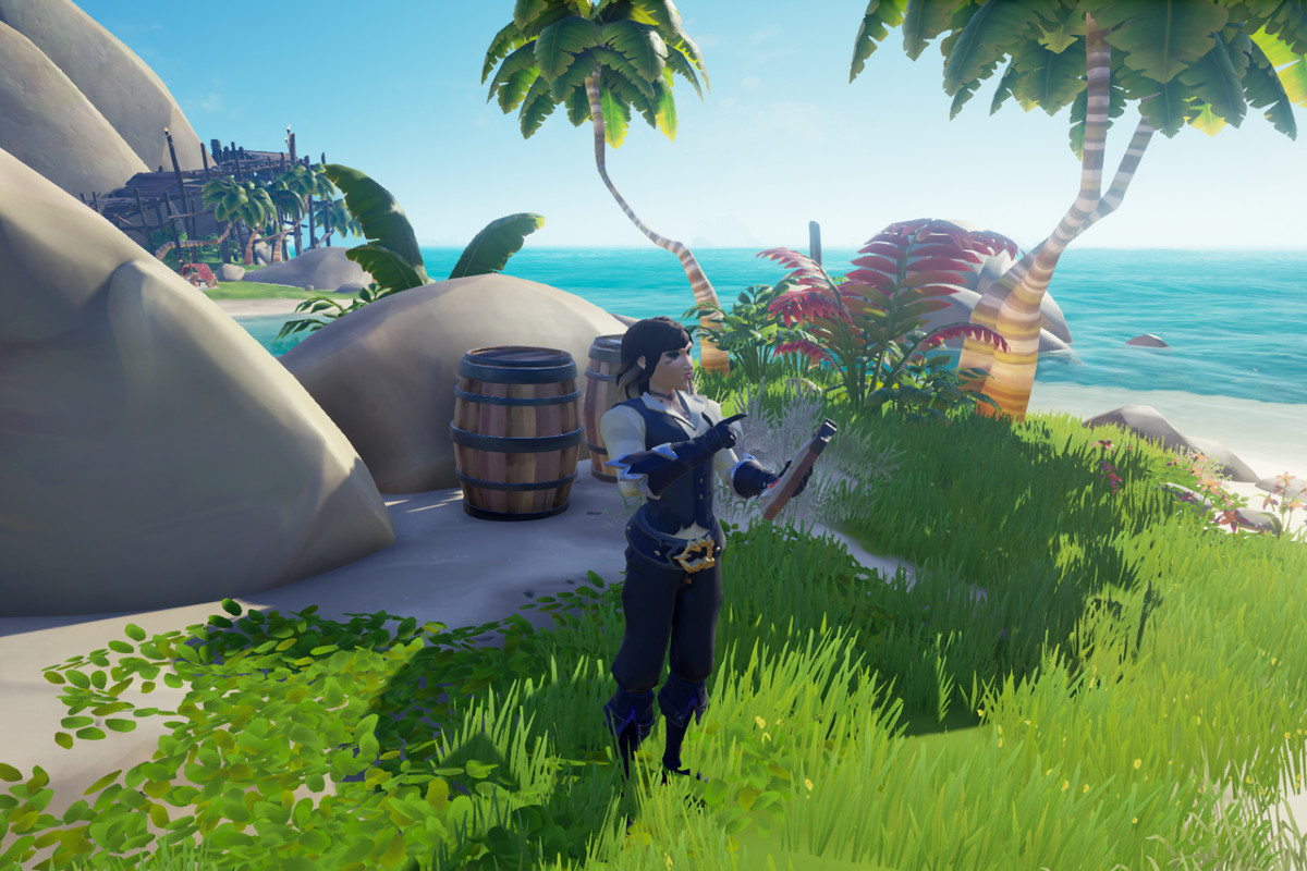 Sea of Thieves - a pirate stands at a sunny outpost next to a barrel