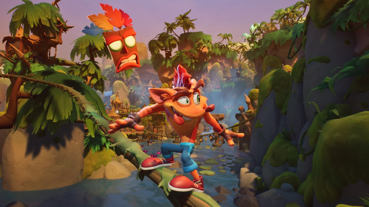 Crash grinds on a vine in a screenshot from Crash Bandicoot 4: It's About Time