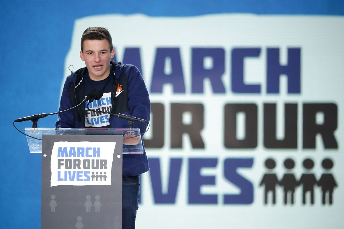 Marjory Stoneman Douglas High School student Cameron Kasky addresses the March for Our Lives rally on March 24, 2018 in Washington, DC.