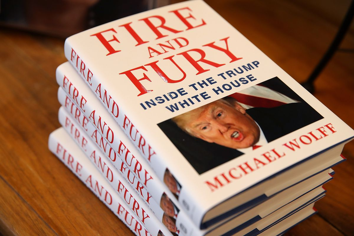 A stack of Michael Wolff's new book, 'Fire and Fury'