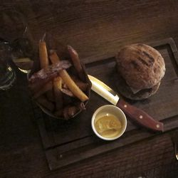 """Chargrilled Lamb Burger with Feta, Cumin Mayo & Thrice Cooked Chips from The Breslin by <a href=""""http://www.flickr.com/photos/50772153@N07/8445950171/in/pool-eater/"""">CarbZombie</a>"""