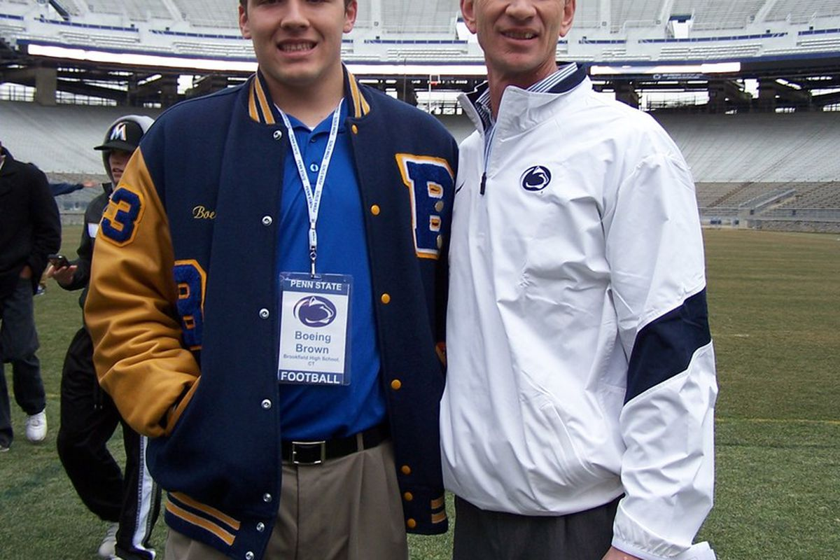 """Boeing Brown and new Penn State quarterbacks coach Charlie Fisher. (Photo courtesy of Boeing Brown) via <a href=""""http://assets.sbnation.com/assets/967797/100_4479.JPG"""">assets.sbnation.com</a>"""