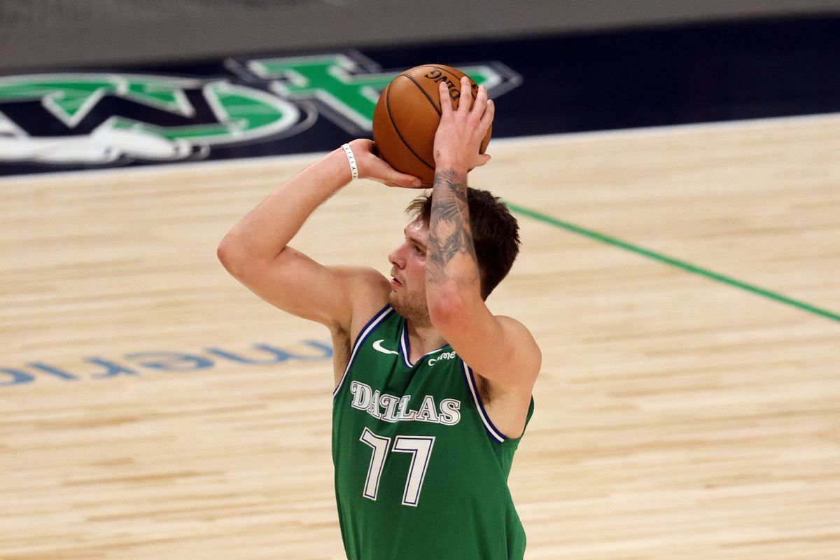 Luka Doncic of the Dallas Mavericks in the fourth quarter at American Airlines Center on January 30, 2021 in Dallas, Texas.