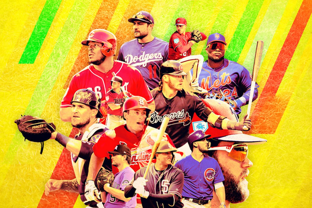 A collage of baseball players from the National League