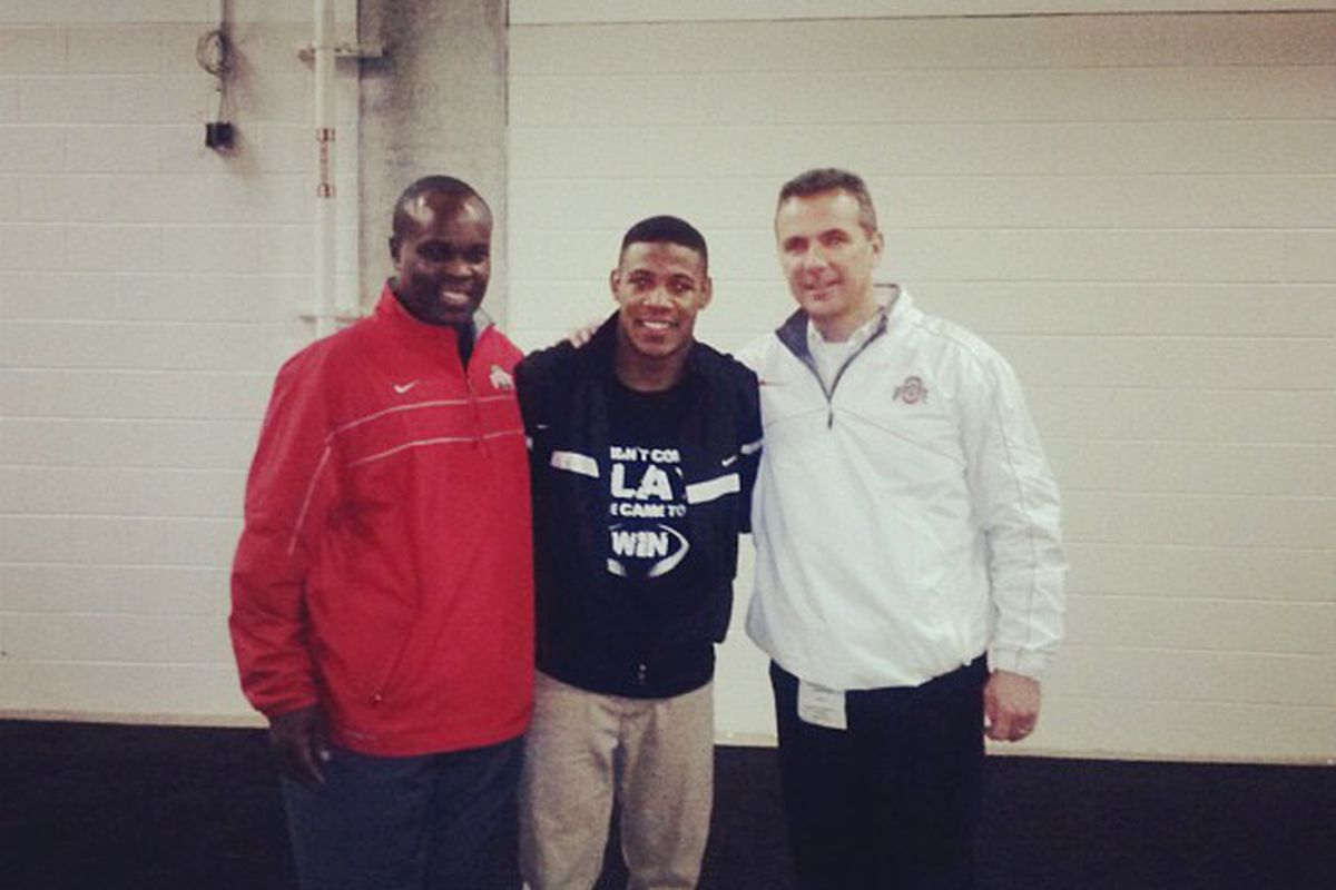 2013 safety recruit Vonn Bell with Everret Withers and Urban Meyer