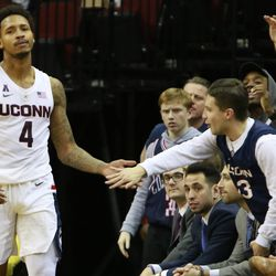 The Florida State Seminoles take on the UConn Huskies in a men's college basketball game in the Never Forget Tribute Classic at Prudential Center in Newark, NJ on December 8 2018.