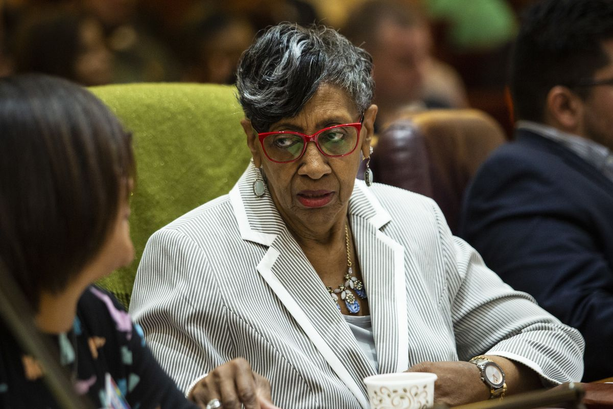 Ald. Carrie Austin (34th) at a Chicago City Council meeting earlier this year.
