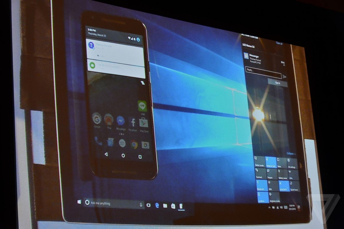 Windows 10 will bring your Android phone notifications to your PC