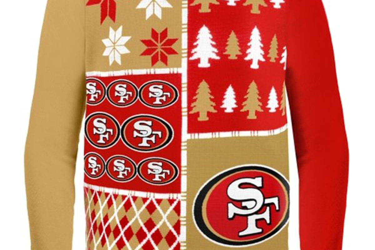 """<a href=""""http://www.shop49ers.com/San_Francisco_49ers/San_Francisco_49ers_Busy_Block_Ugly_Sweater"""">Niners Ugly Sweater</a>, <strong>$64.95</strong>"""