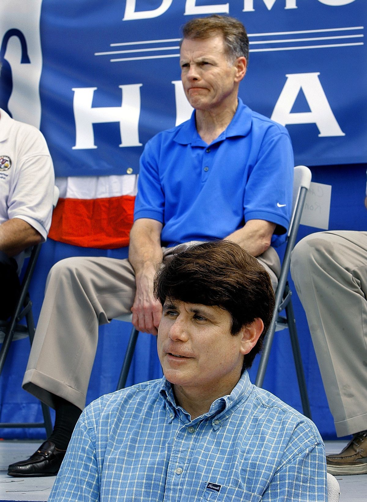 """House Mike Madigan, D-Chicago, top, and then Gov. Rod Blagojevich, bottom, attend the """"Governor's Day"""" rally at the Illinois State Fair in Springfield in 2007."""