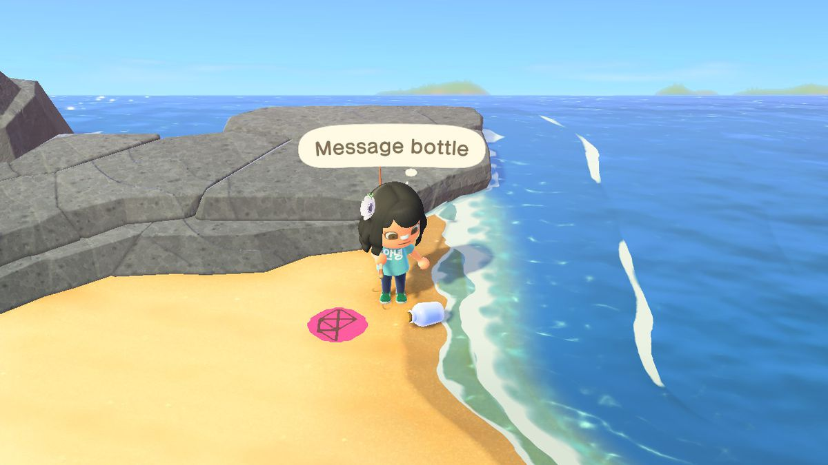 A bottled message sits on the shore while a villager stares at it