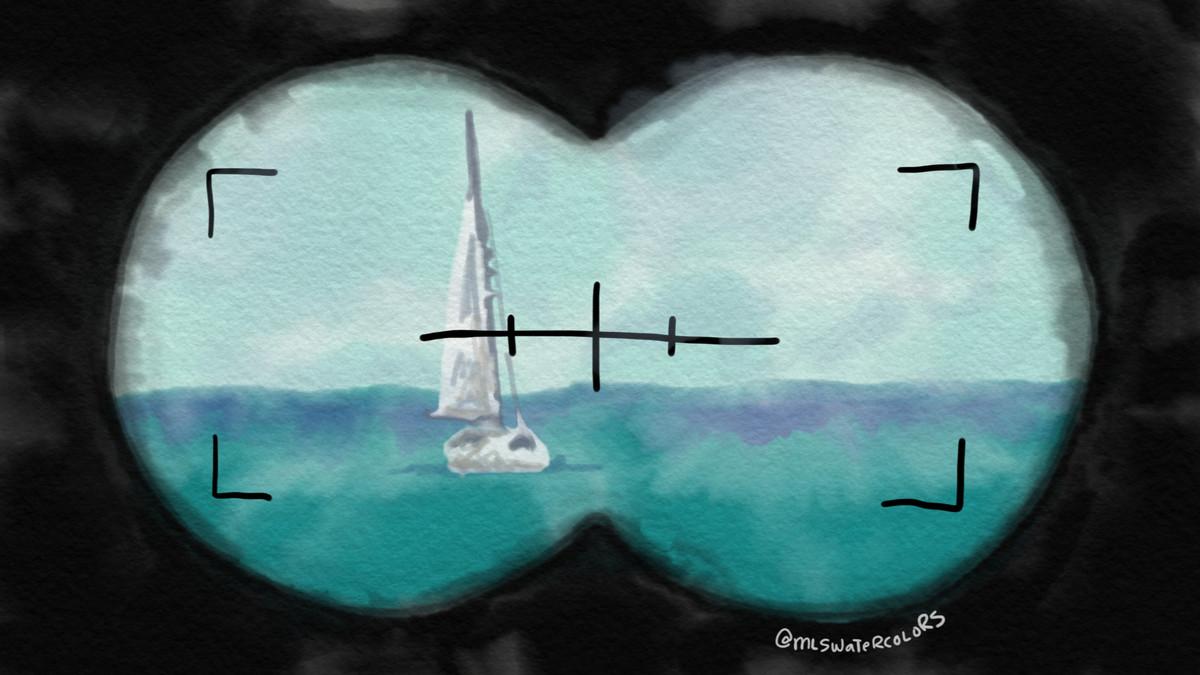 Watercolor of a ship through binoculars