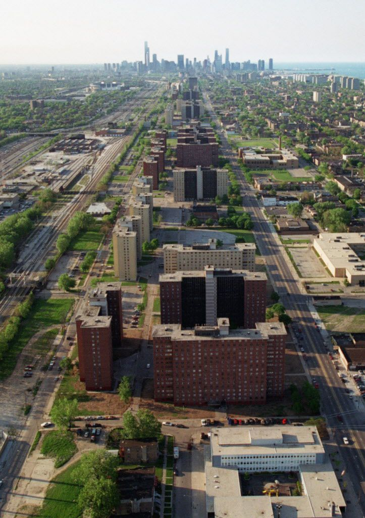 The downtown skyline provides a backdrop May 31, 1996, to the Robert Taylor Homes public housing project, now torn down. Beth Keiser / AP file photo