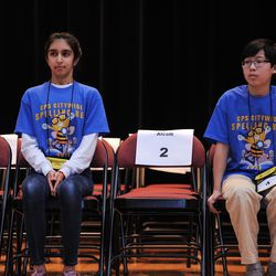 Seventh-grader Aaron Chang (right) from the Audubon Elementary School and Maya Joshi from the Young Magnet High School during one of the final rounds of the annual Citywide Spelling Bee Championship at the Lindblom Math and Science Academy on March 14, 2019. The winner will earn the opportunity to represent Chicago Public Schools at the Scripps National Spelling Bee in Washington, D.C., where they will compete against the best spellers from across the nation for the title of 2019 national Spelling Bee Champion and an opportunity to win a $40,000 prize. | Victor Hilitski/For the Sun-Times
