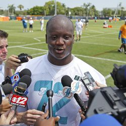 DAVIE, FL - MAY 23: Ja'Wuan James #72 of the Miami Dolphins answers questions from the media after the rookie minicamp on May 23, 2014 at the Miami Dolphins training facility in Davie, Florida.