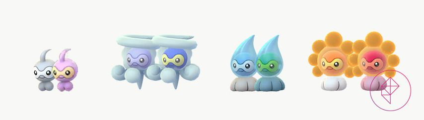 Shiny Castform and all of its forms with its normal versions. Shiny Castform is pink instead of grey, Shiny Snow Form Castform is more blue, Shiny Rainy Form Castform is more green, and Shiny Sunny Form Castform is more red.